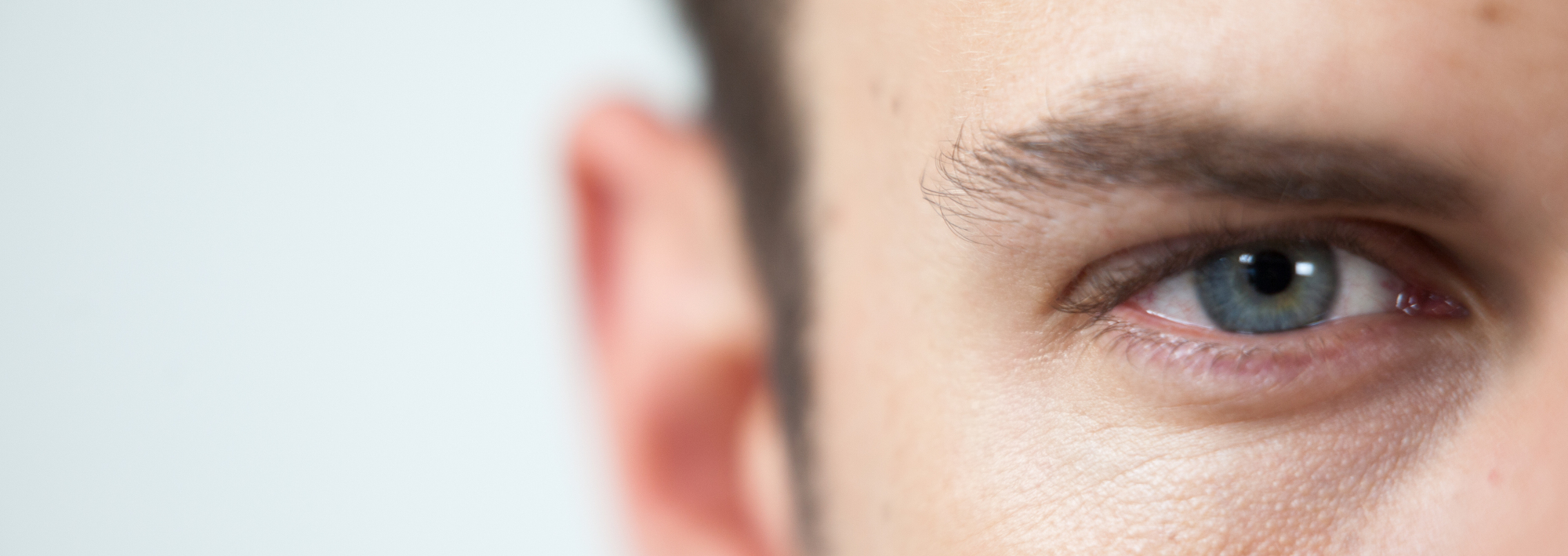 Close up image of man's right eye