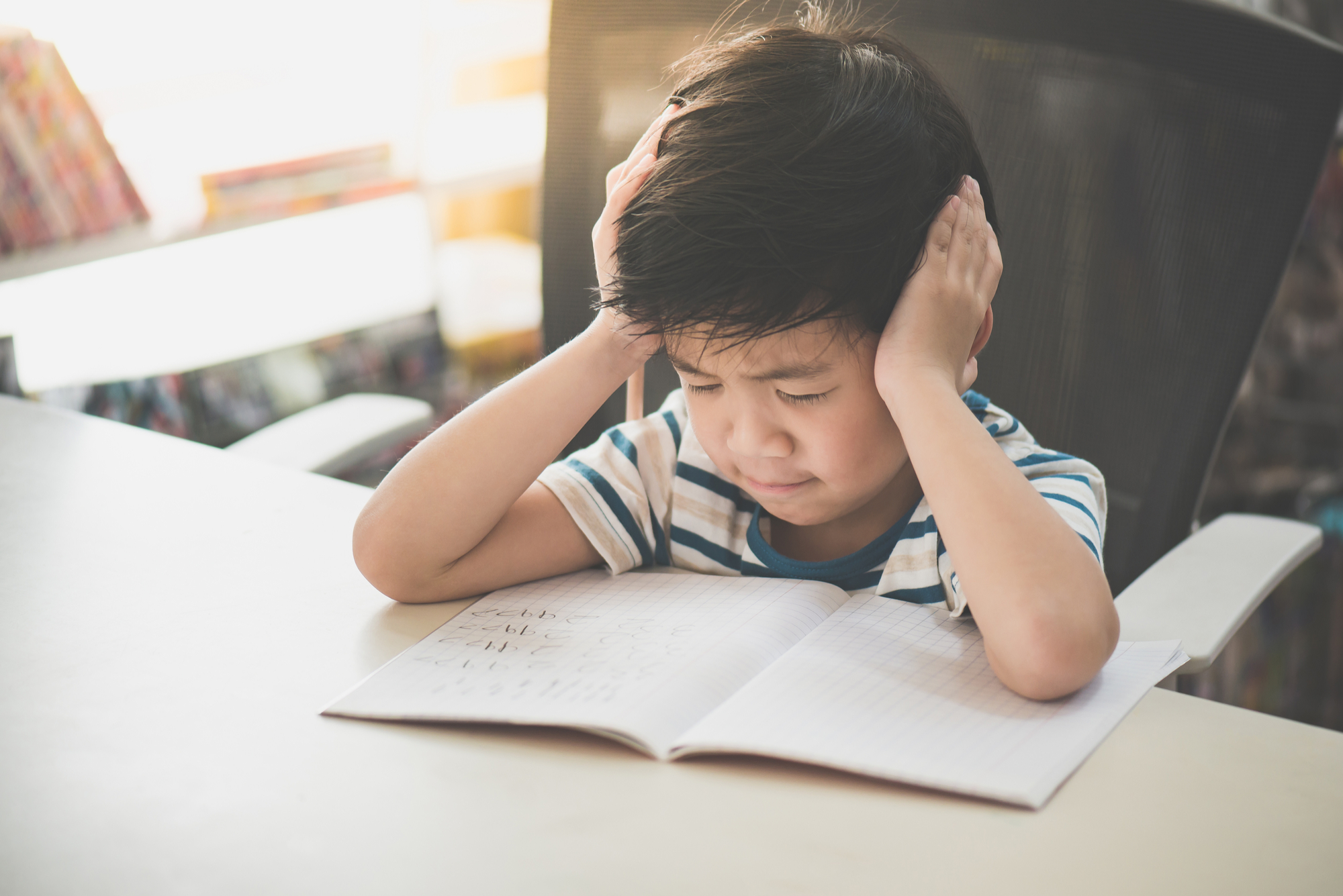 Child suffering from visual stress